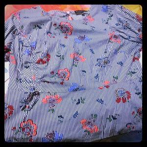 Eloquii long sleeve floral pinstripe blouse